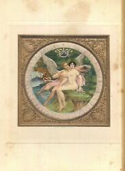 Antique Artistic Nude Woman Flowers Love Eros Psyche Peacock Feather Color Print
