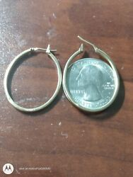 14kt Solid Yellow Gold Hoops About The Size Of A Quarter