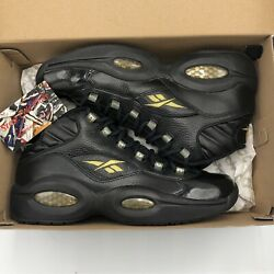 Reebok Question Sz 11 New Years Eve Allen Iverson Basketball Black Gold Answer