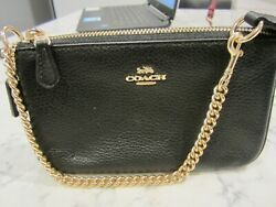 Coach Black Leather Pochette Purse Small Brand New with tags Gold Hardware $69.00