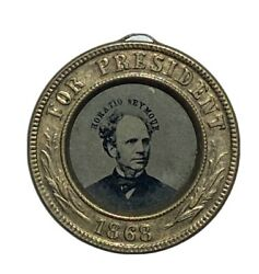 1868 Seymour-blair Double-sided Presidential Campaign Ferrotype In High Grade