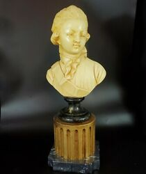Antique French Chalkware Bust Statue Of 18th Century Man Boy 1920s