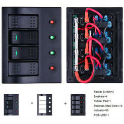 Boat Rv Marine Switch Panel 4 Gang Led Rocker Switch With Circuit Breakers Kit
