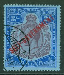 Sg 111 Malta 1922. 2/- Purple And Blue/blue. Very Fine Used, Scarce In This...