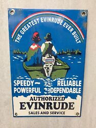 Vintage Evinrude Outboard Motors Sales And Service Porcelain Metal Sign 12andrdquox8andrdquo Gas