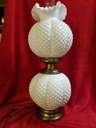 Fenton White Lamp 23and039and039tall Hobnail Excellent