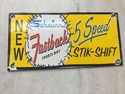 Vintage Schwinn Bike Porcelain Sign 9.5andrdquox4.5andrdquo Gas Station Sign Gas And Oil Sign