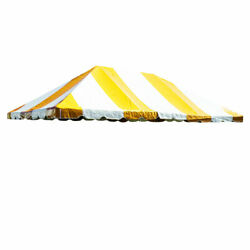 20x30and039 Frame Tent Canopy Yellow White Vinyl Premium West Coast Replacement Top