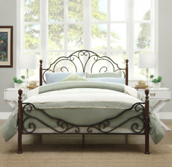 Queen Size Metal Bed Frame Scrolls Poster Vintage Headboard Footboard Iron Retro