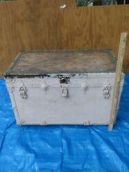Antique Steamer Trunk Leather Metal Old Wood W/ Original Inserts