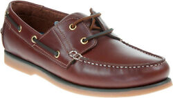 Mens Catesby Boat Shoes Leather Lace Up Deck Sailing Moccasin Loafers Brown