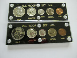 1958-p And 1960p United States Proof Sets 5 Coins Each 90 Silver