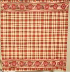 Beautiful Vintage 40's Camp Blanket Nice Ombre Red And Greek Key Border