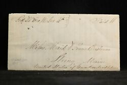 Wisconsin Fond Du Lac 1845 Stampless Cover, Ms, Paid 10 To Strong, Maine