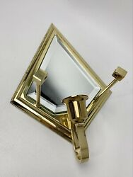 Partylite Infinity Sconce Brass Beveled Glass Mirror Wall Midcentury Boho Mcm
