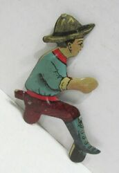 Vintage Tin Litho Driver Figure For Wind-up Toy Tractor Or Bulldozer By Marx