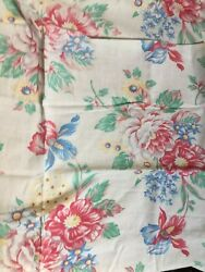 Vintage Cotton Linen Tablecloth Blue, Green, Red, Yellow Floral 36 X 42 Retro