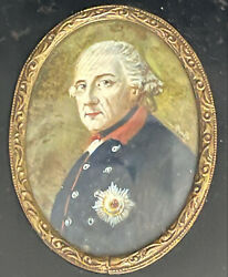 Frederick The Great, King Of Prussia, Antique Portrait Miniature In Period Frame