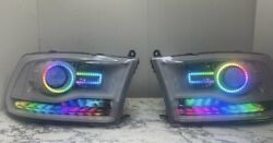 Dodge Ram 09-18 Headlights With Color Match Paint Rgb And Chasing Halo / Drl