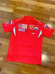Ferrari 2006 F1 Authentic Pit Crew Issue Short Sleeve Zip T-shirt With Tags