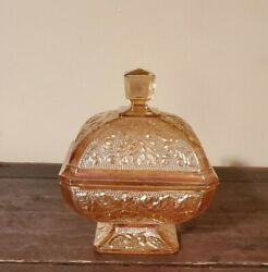 1960's Vintage Jeanette Orange Carnival Glass Candy Dish With Lid Gorgeous