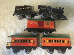 American Flyer Pre War O Gauge Cast Iron Loco 3 Red And Green Tin Cars Train Set