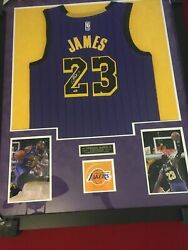 Lebron James Signed Los Angeles Lakers Jersey Suede Matting W Coa - Hologram