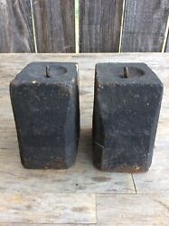 A Pair Of Large 8 Day American Shelf Clock / Wooden Works Cast Iron Weights