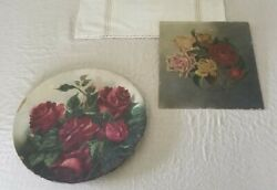 Antique Rose Oil Painting On Board Signed Dated History 1888 Square