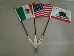 3 Flag Holder With 3 Flags Mexico, Usa And California License Plate Topper Flag