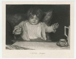 Antique Sweet Infant Baby Victorian High Chair Spoon Breakfast Miniature Print