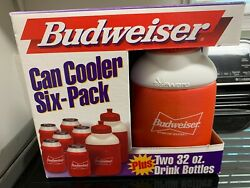 1998 8 Total Items Vintage Budweiser Software Can Cooler And 32oz Bottles New
