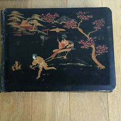 Album Photos Antique Lacquered Pattern Asian Interior Silk Painted Early 20th