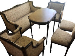 Antique Upholstered Bench 2 Armchairs Woodtable