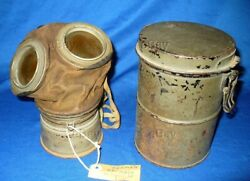 German Ww1 Gas Mask W/cannister Papers Lenses 1918 Filter Can Dated 1914 Wwi 3jr
