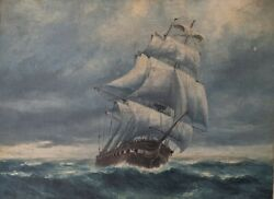 Antique Ship Seascape Oil Painting On Canvas Early - Mid 20th Century Nautical