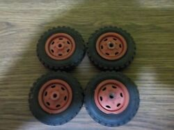 Vintage Wyandotte Semi Truck Set Of 4 Red Wheel Tires For Parts