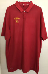 Nike Usc Trojans Tiger Woods Collection Red Golf Polo Shirt Red Metal Snap Tw Xl