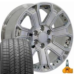 22x9 Chrome 5661 Rims And 275/50r22 Tires Set Fits 2019 And Newer Gmc Sierra Yukon