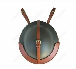 Military Wwii British Uk Army Brodie Tommy Steel Helmet With Leather Cover Set