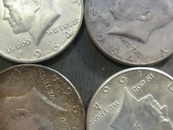 U.s. 90 Silver Coins - 2 Face Value Lot  4 - 1964 Kennedy Half Dollars -