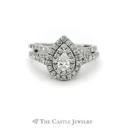 Crown Collection 1cttw Pear Cut Diamond Bridal Set W Double Halo And Matching Band
