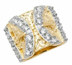 9ct Yellow Gold Mens Buckle Cubic Zirconia Ring