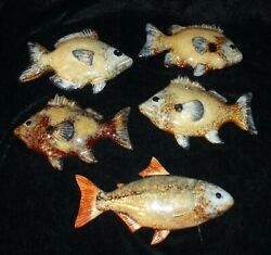 Lot of 5 Vintage FISH Ceramic Wall Hangings High Gloss Artist Signed Excellent