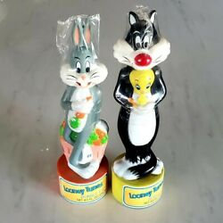 Bugs Bunny + Sylvester - Looney Tunes Bubble Bath Figural Bottles 1988 Sealed