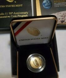 Gold 2019 W Proof Apollo 11 50th Anniversary Curved 5 Coin- Low Mintage 1/50k