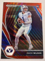 Zach Wilson 2021 Panini Prizm Draft Red Ruby Wave Parallel Rookie 105 Jets
