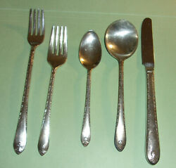 Vintage 5 Piece Place Setting Wm Rogers And Son Andlsquoexquisiteandrdquo Silverplate Flatware