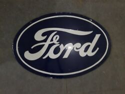 Porcelain Ford Enamel Sign 24 X 36 Inches 2 Sided Pre-owned