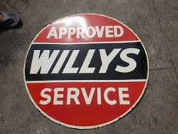 Porcelain Willys Approved Service Enamel Sign Size 30 Double Sided Pre-owned